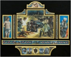 """Chronicles of War-Saints and Martyrs. Oil and gold leaf on linen on panel             2007. 40""""x50"""""""