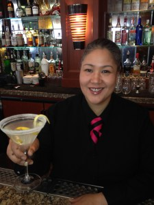"""Joie serves the ever-requested """"Perfect Lemon Drop"""" made with fresh squeezed lemon juice and a spiral twist!"""
