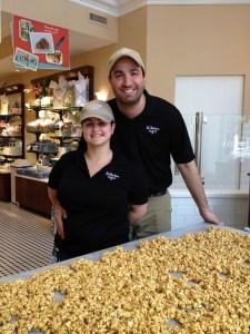 Dani and Javi with freshly made caramel corn