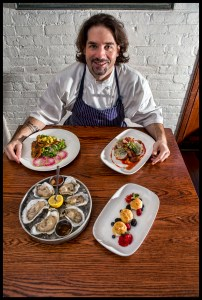 Roast Duck Breast & Ravioli, Sauteed Soft Shell Crabs, Profiteroles of Fromage Blanc & Summer Berries, and Dragon Creek Oysters. © 2015 Chester Simpson