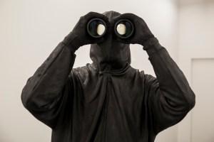 """The Bird Watcher""tape, wood, metal, resin, fiberglass, aerosol foam, cement, clothing, binoculars 73 26 x 16. 2015 Image by Theonepointeight Photography"