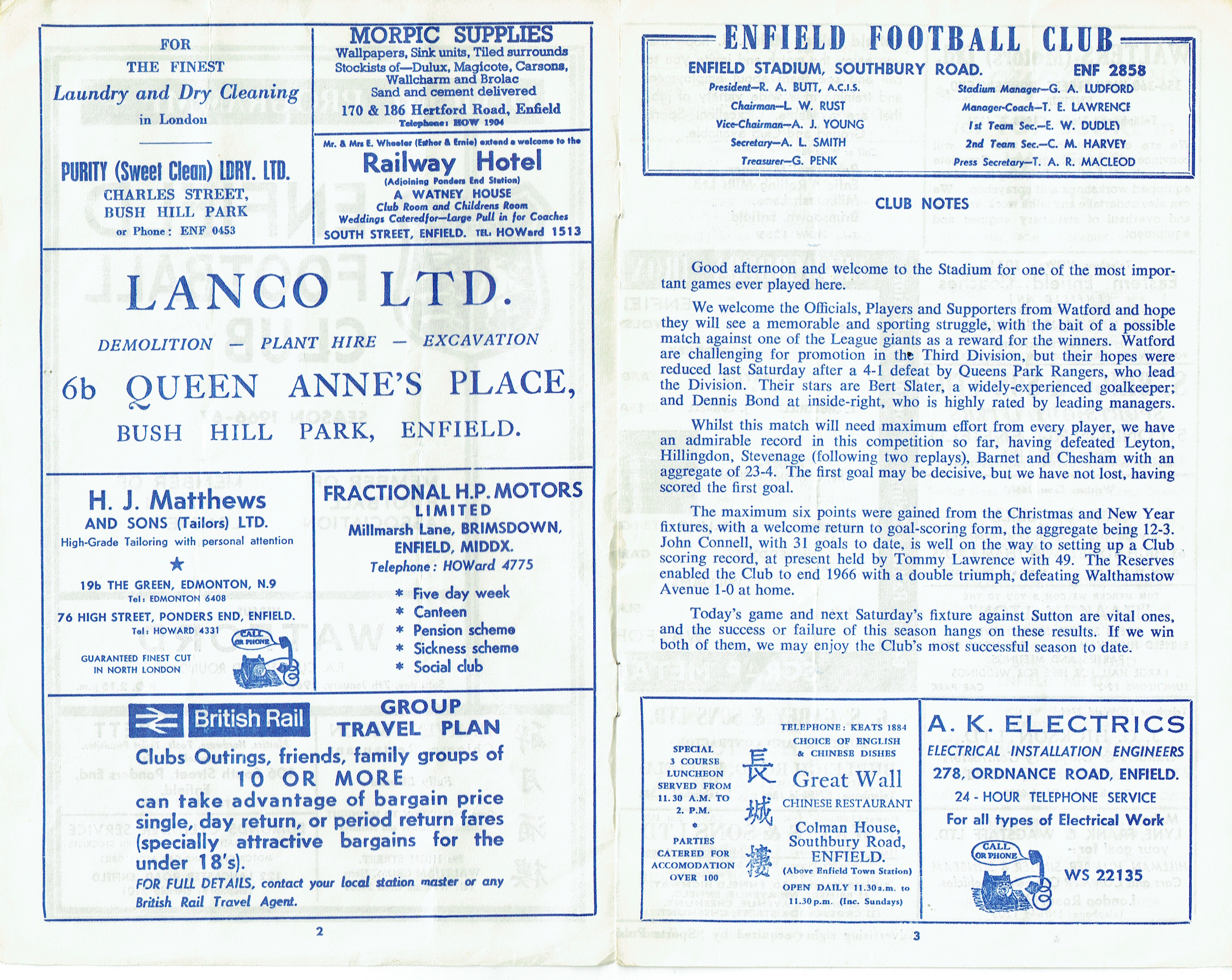 7th January 1967 Fa Cup Second Round Enfield 2 Watford 4 Old Residential Electrical Plan General Notes