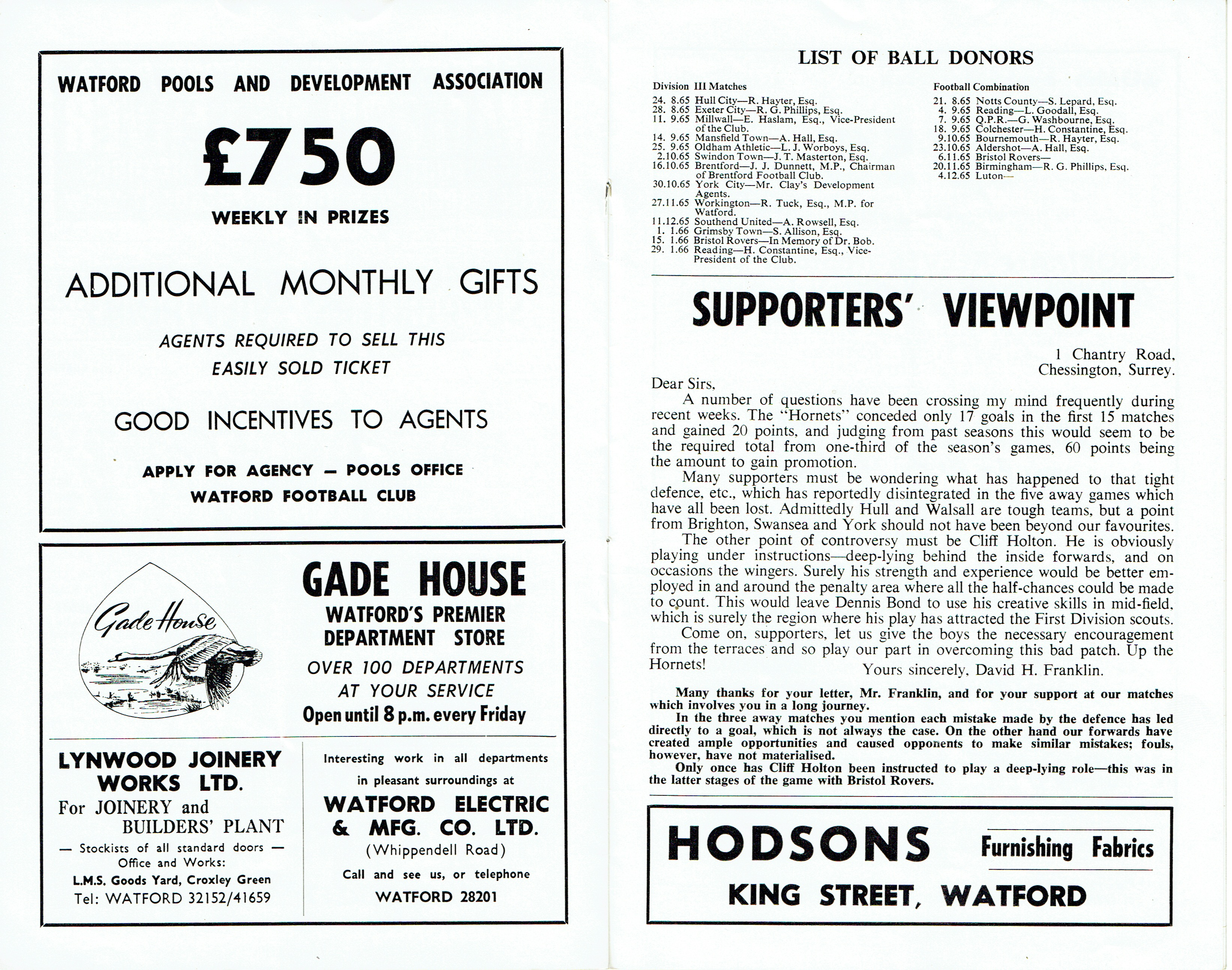 January 1966 – Old Watford