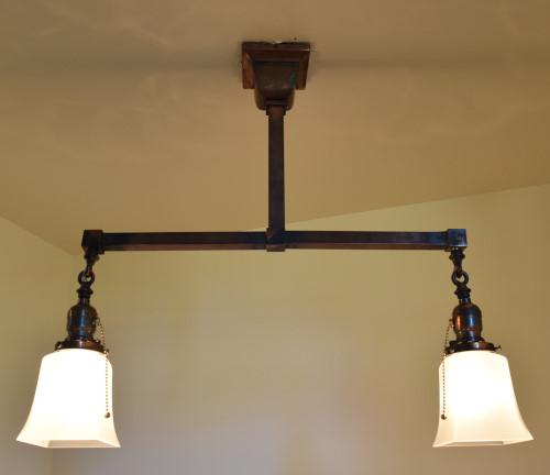 Craftsman style chandelier 22 inch lit up
