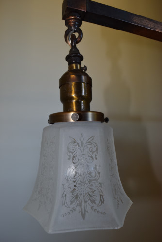 Craftsman chandelier 42 inch shade close up