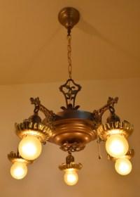 Vine chandelier, lit, full view