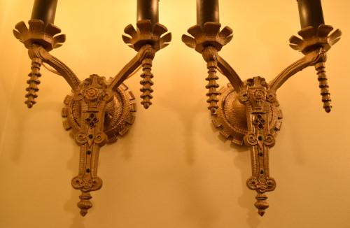 Double Arabesque Sconces lit detail