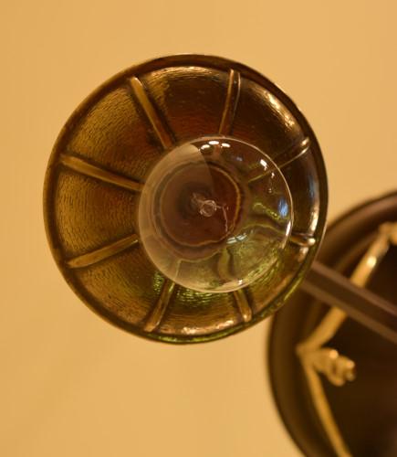 Brass Swag Chandelier, bobeche close up