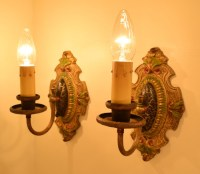 Palmetto Sconces, full view, lit