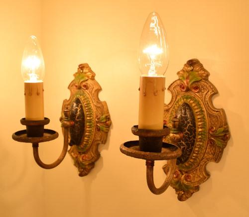 Palmetto Sconces, full view, lit
