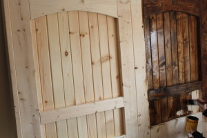 We added a single coat of stain, and it was time to attach the old barn hardware