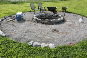 Next we laid in the limestone screening base to form the outside base - and started to lay in the rock puzzle