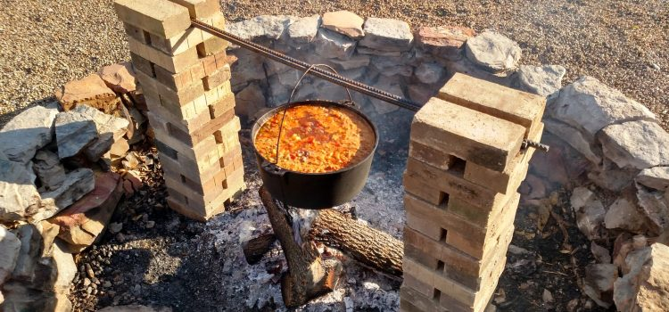 Making Open Kettle Garden Chili Over The Fire – A great night at the Farm!