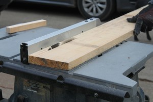 """We used the table saw to quickly rip down the boards into 3/4"""" strips"""