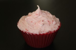 Chocolate cupcake with strawberry icing - no dye required!