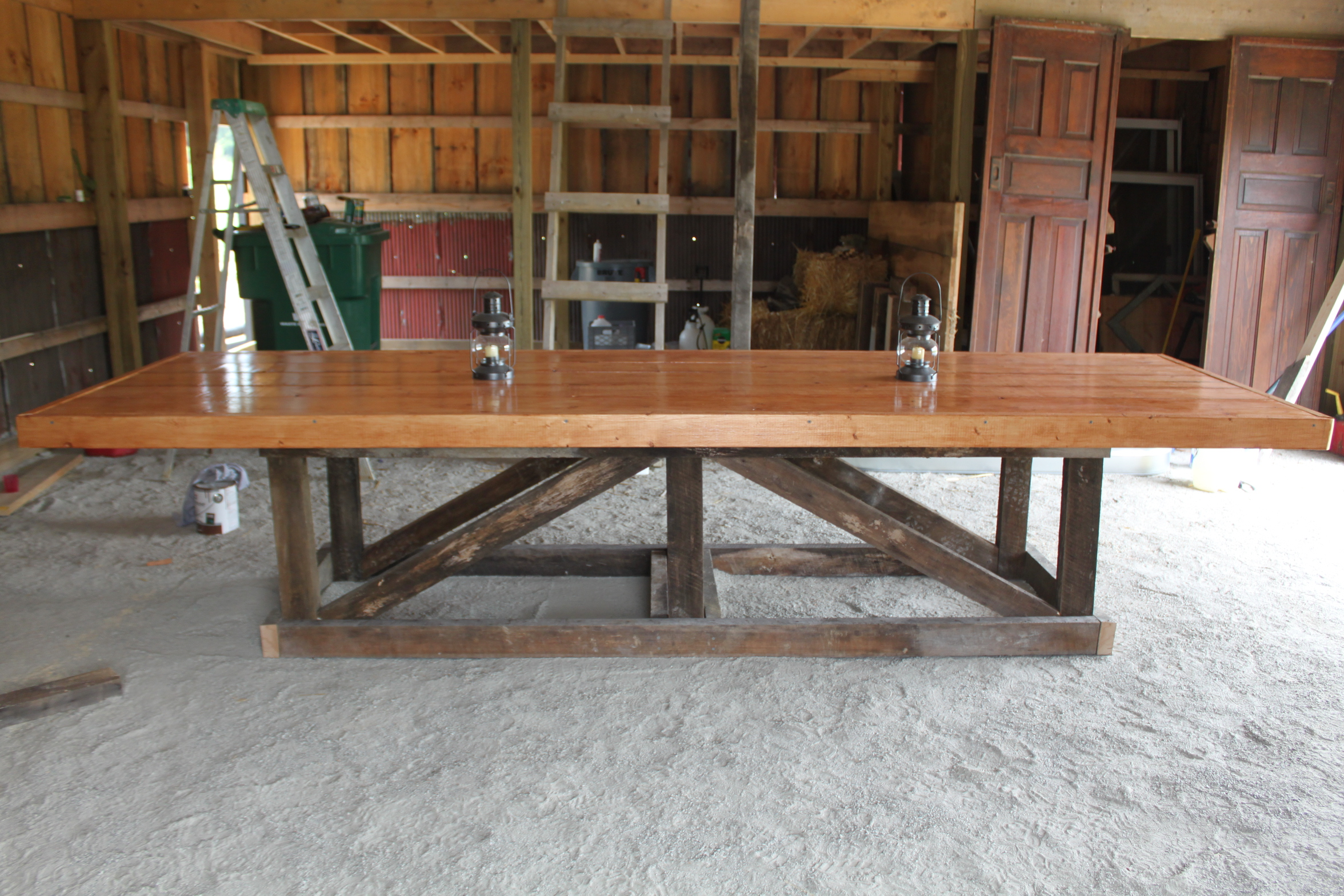 The Recycled Barn Trestle Table Seating For 14 Old World Garden Farms