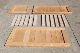 Crate and pallet boards after disassembly