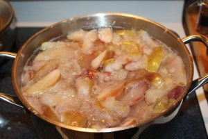 Boil the apples until softened