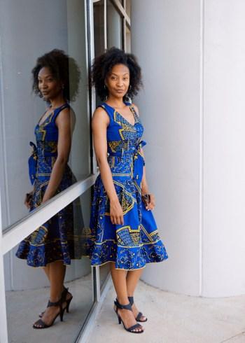 Hand-sewn African Print dress: Texas Thrift, Hurst