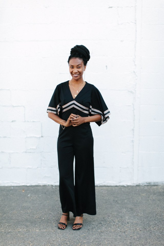 60s Vintage Jumpsuit with Large Collar via Old World New