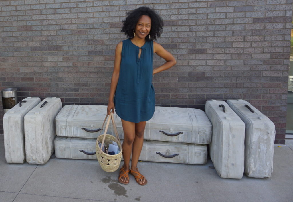prAna outfit and ten thousand villages fair trade woven tote bag