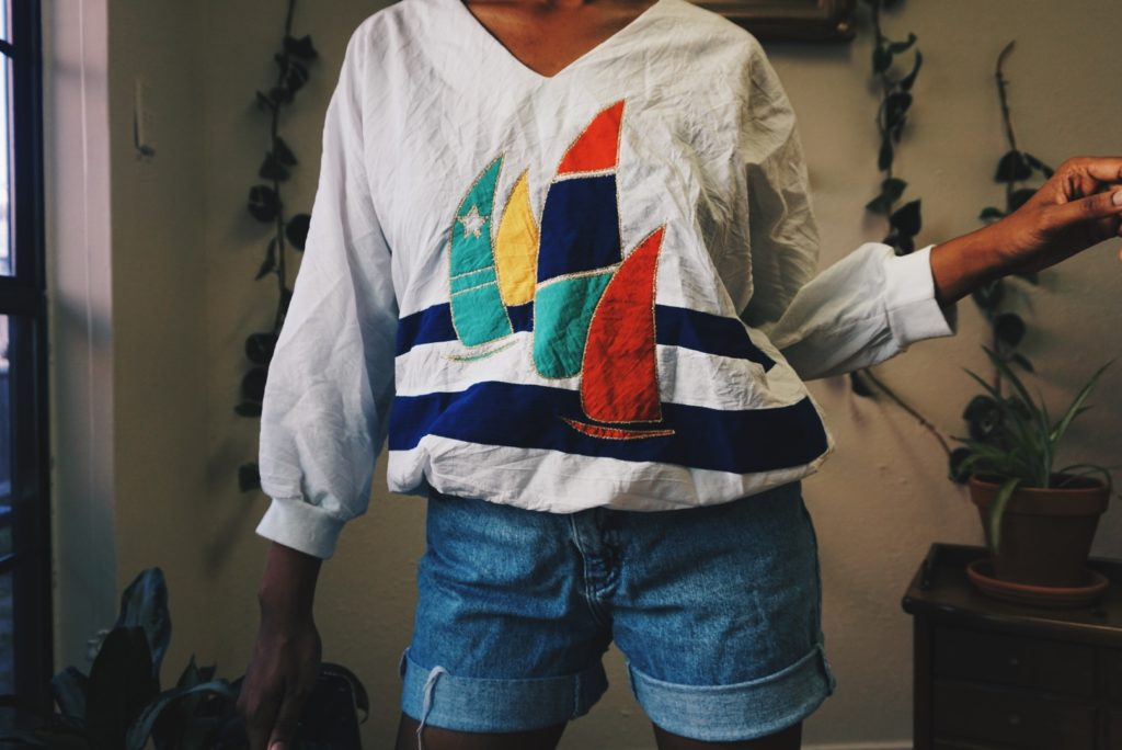 vintage thrift store finds sail boat pullover