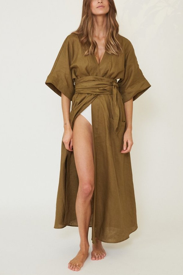 Le Buns - linen robe - Lounge Fleur Lilly - sustainable loungewear