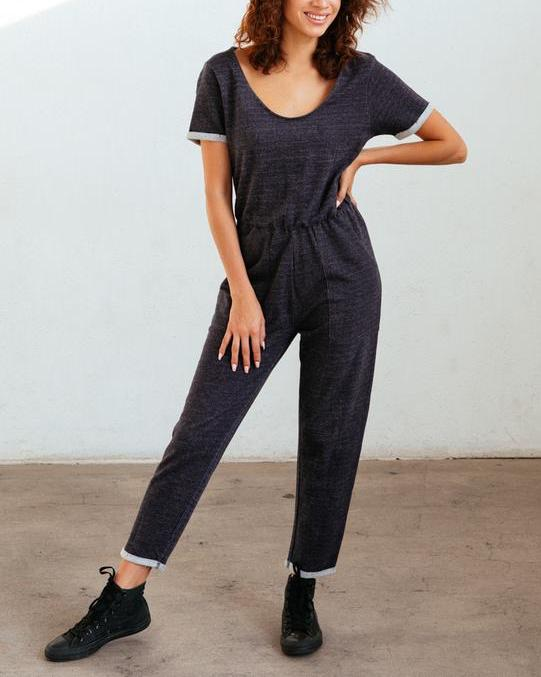 known supply 100% organic french terry sycamore jumpsuit - sustainable loungewear