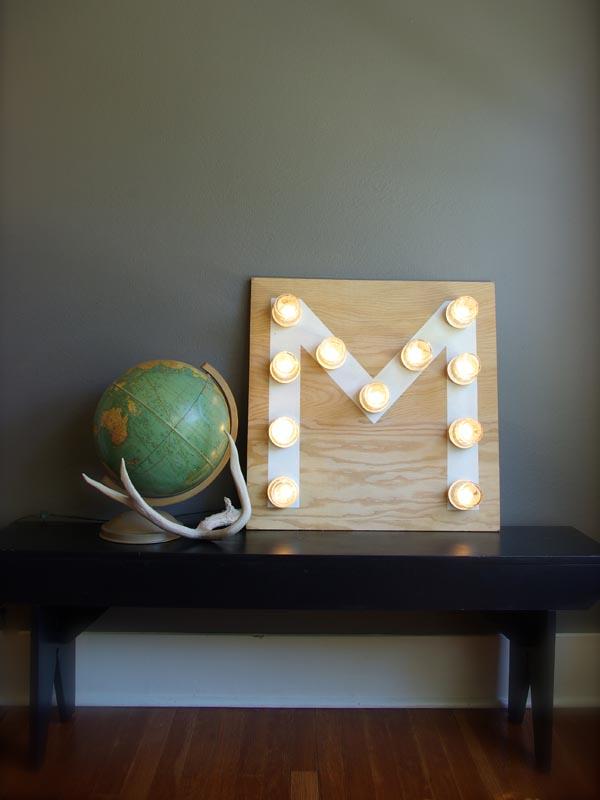 Mason Jar Monogram Light Oleander Palm