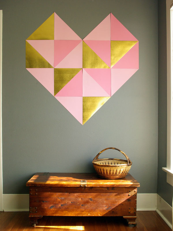 Giant geometric wall heart | Cute And Easy Valentine Decorations To DIY