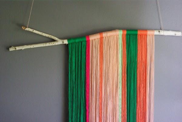 Diy yarn art oleander palm for Yarn wall art