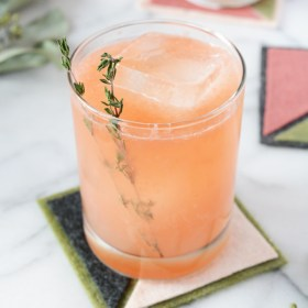 Grapefruit Thyme Spritzer and DIY Color Block Coasters