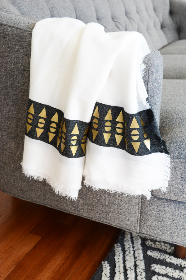 Cricut Gold Throw Blanket With A Geometric Patterned