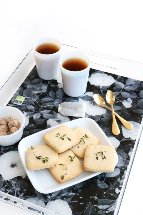 garden rose trays and lemon thyme shortbread recipe