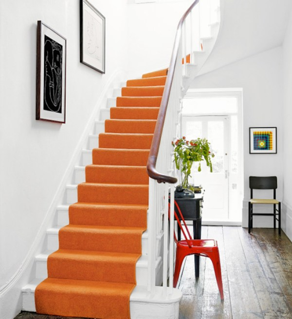 orange staircase runner