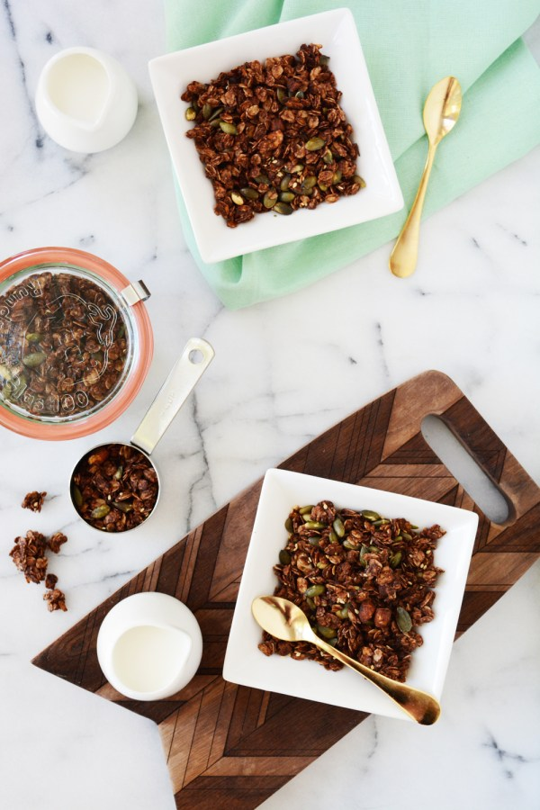 Chocolate chipotle granola recipe - a sweet and spicy combination.