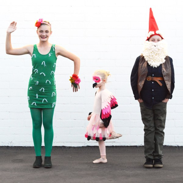 DIY Garden Gnome, Cactus, and Flamingo Halloween Costumes for Siblings