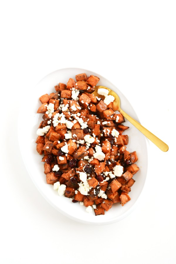 Roasted Maple Sweet Potatoes with Feta and Cranberries