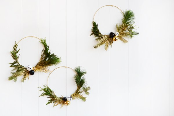 DIY Touch of Gold Wintery Greens Wreaths