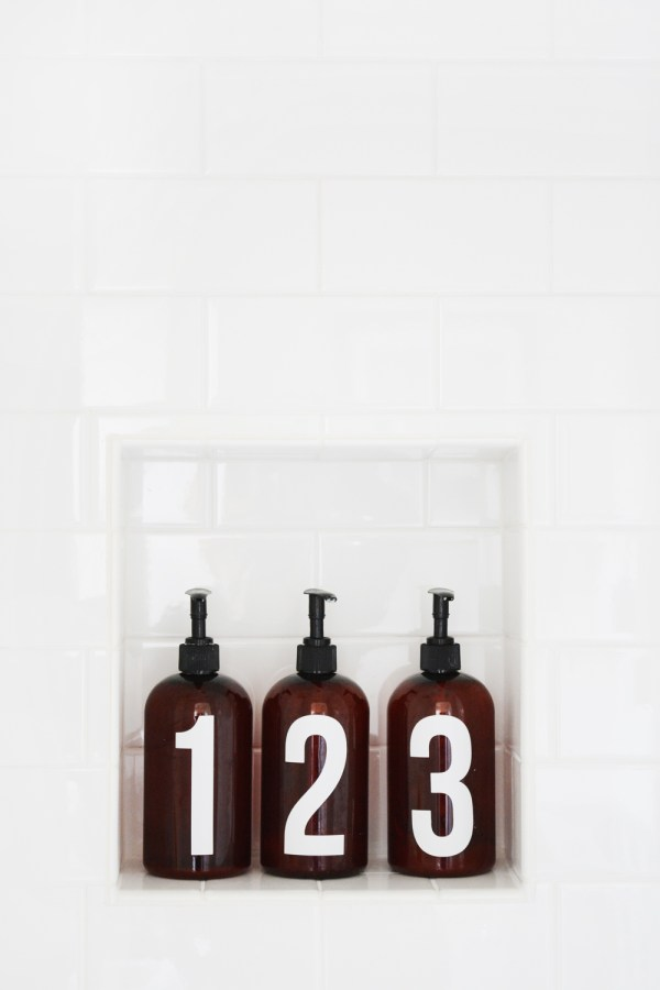 Numbered Shower Bottles