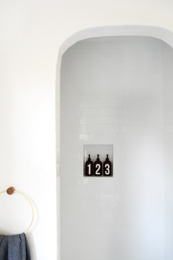 White subway tiled shower.