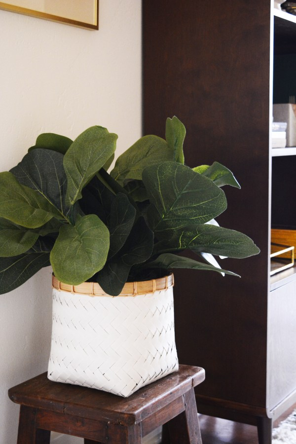 Hallway Makeover and an artificial fiddle leaf fig for a room that has no natural light.
