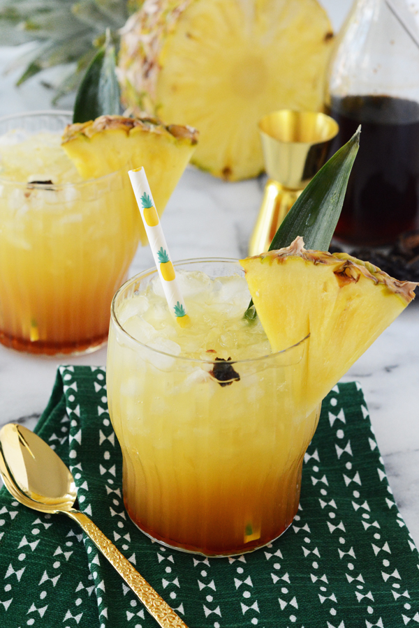 Pineapple Chile Ancho Cooler - a fun mocktail the whole family can enjoy. Sweet, smokey and just a touch of heat, this drink is far from boring.