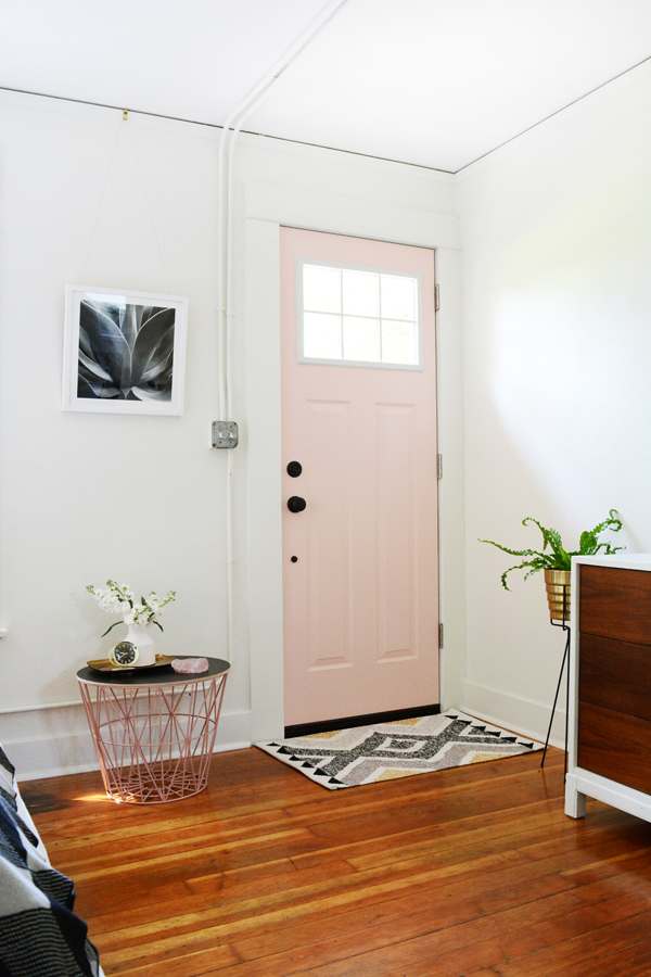 Craftsman JELD-WEN door from Home Depot painted pink.