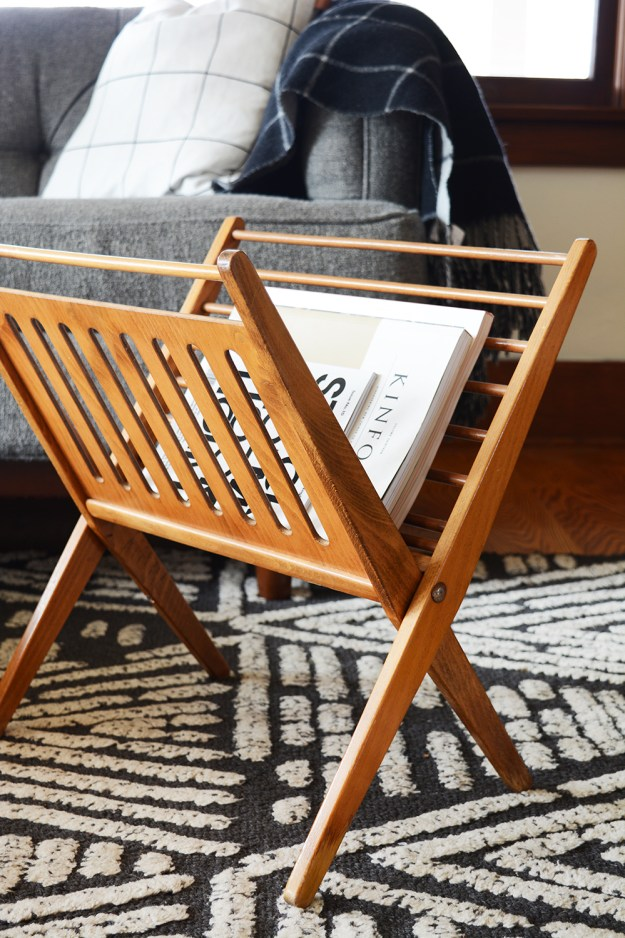 Midcentury magazine rack - thrifted for $2