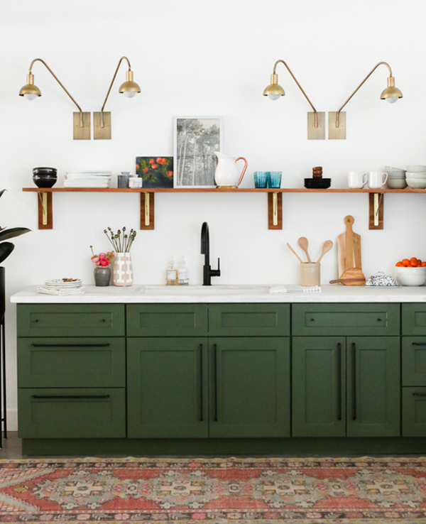 green kitchen cabinets small table ideas dark oleander palm