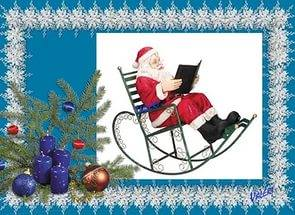 Дед Мороз, кресло-качалка, книга, читает, картинка, фото