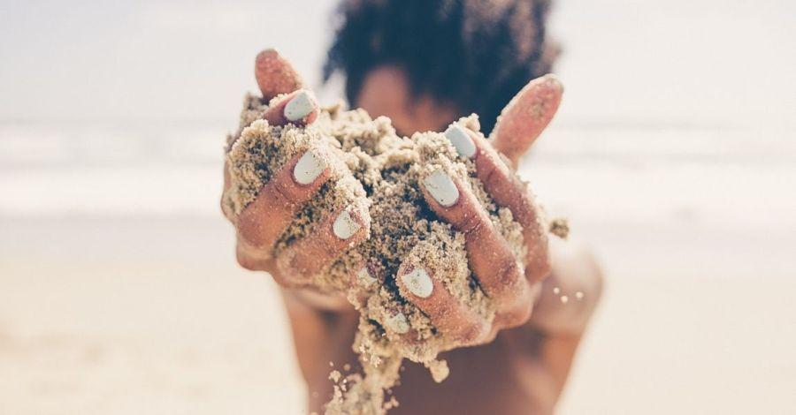 Песок, пляж, замок из песка, фото, иллюстрация