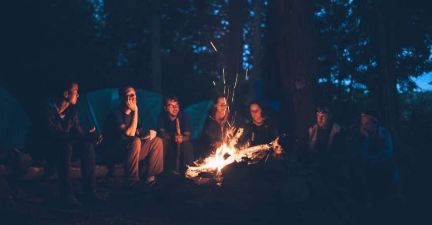 Костёр, огонь, люди, лес, фото