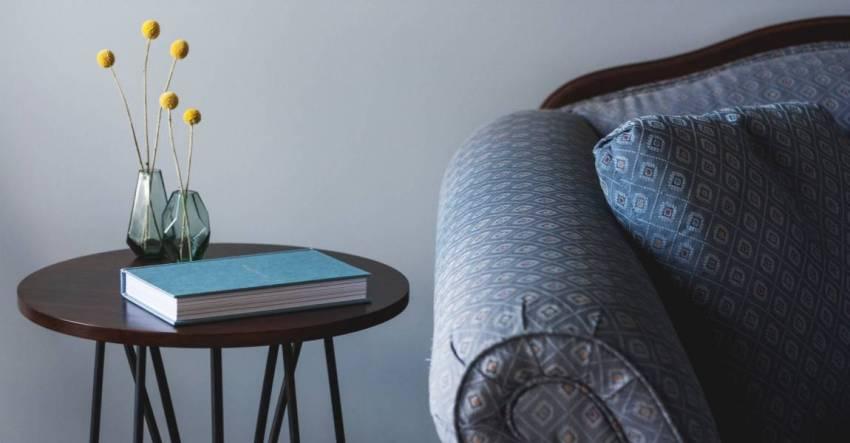 Книга в интерьере, столик, ваза, диван, иллюстрация